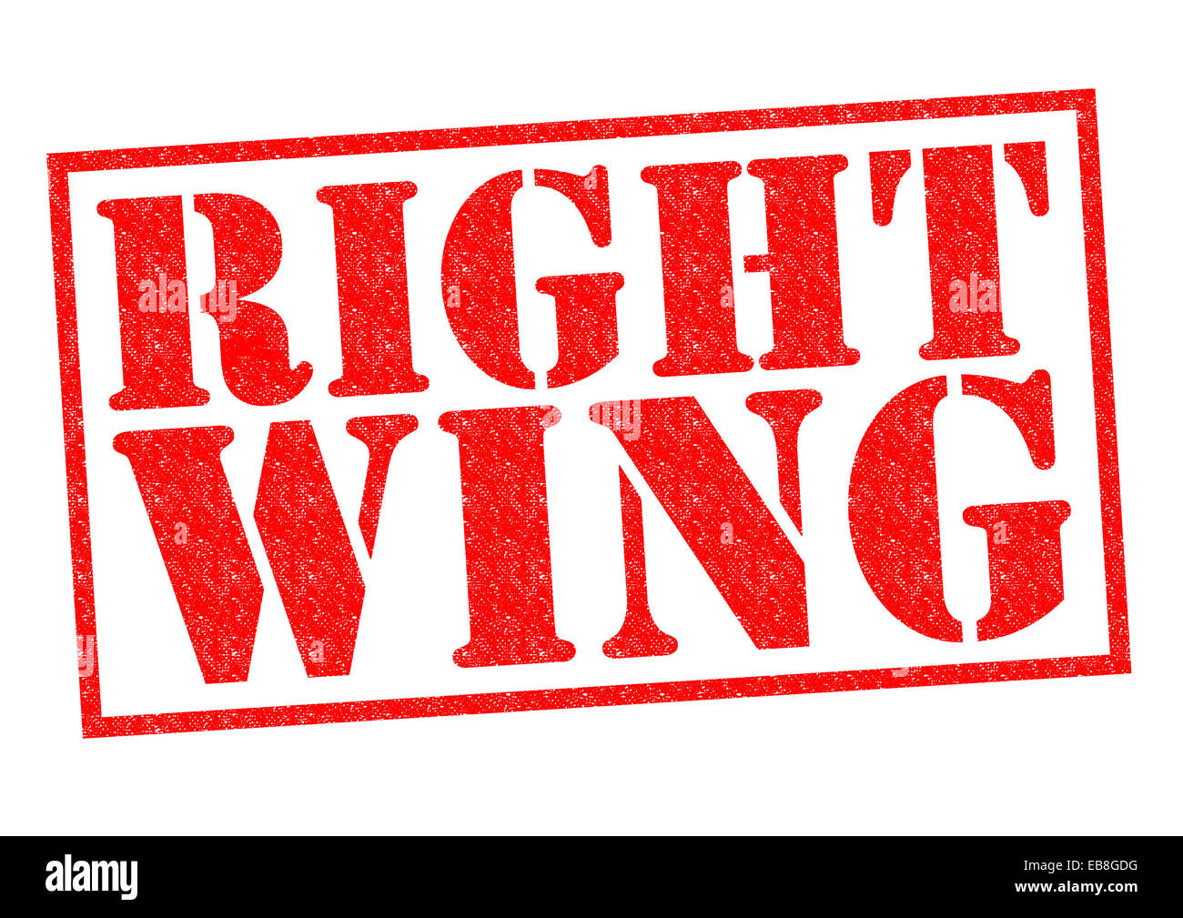 RIGHT WING red Rubber Stamp over a white background. - Stock Image