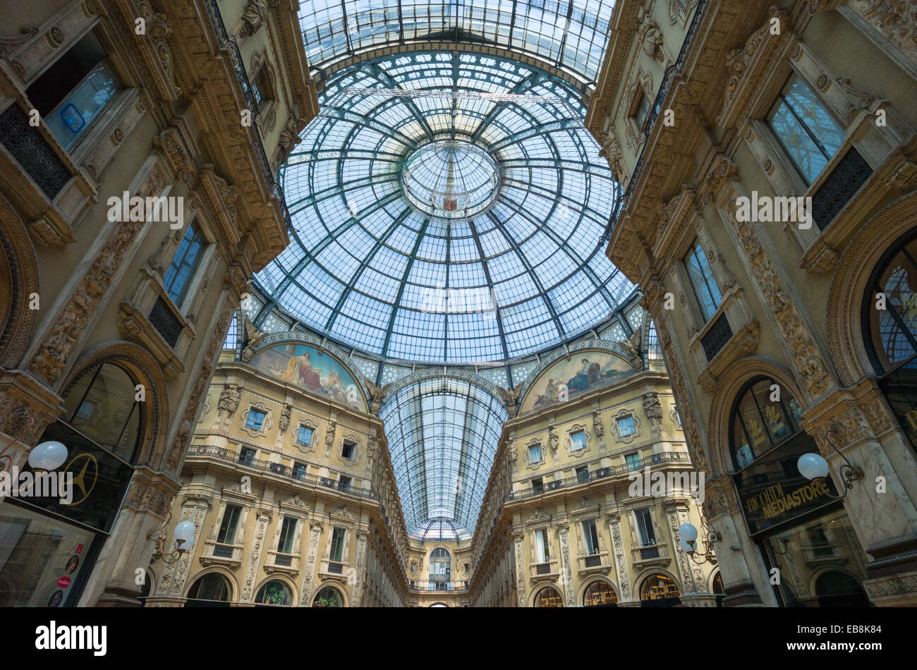 Italy, Milan, the glass roofed arcade of Vittorio Emanuele gallery - Stock Image