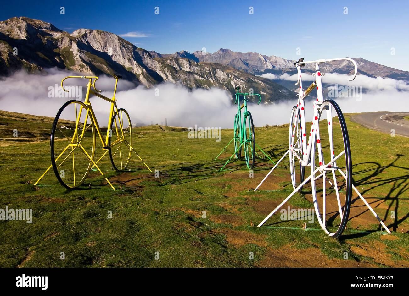 Bicycle Sculptures at the Col d´Aubisque - Cauterets - Aquitaine - Hautes Pyrenees - France - Europe Stock Photo