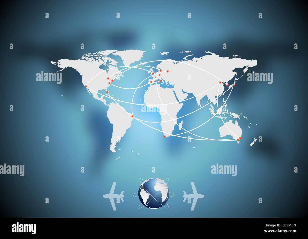 air traffic vector blue background with world map