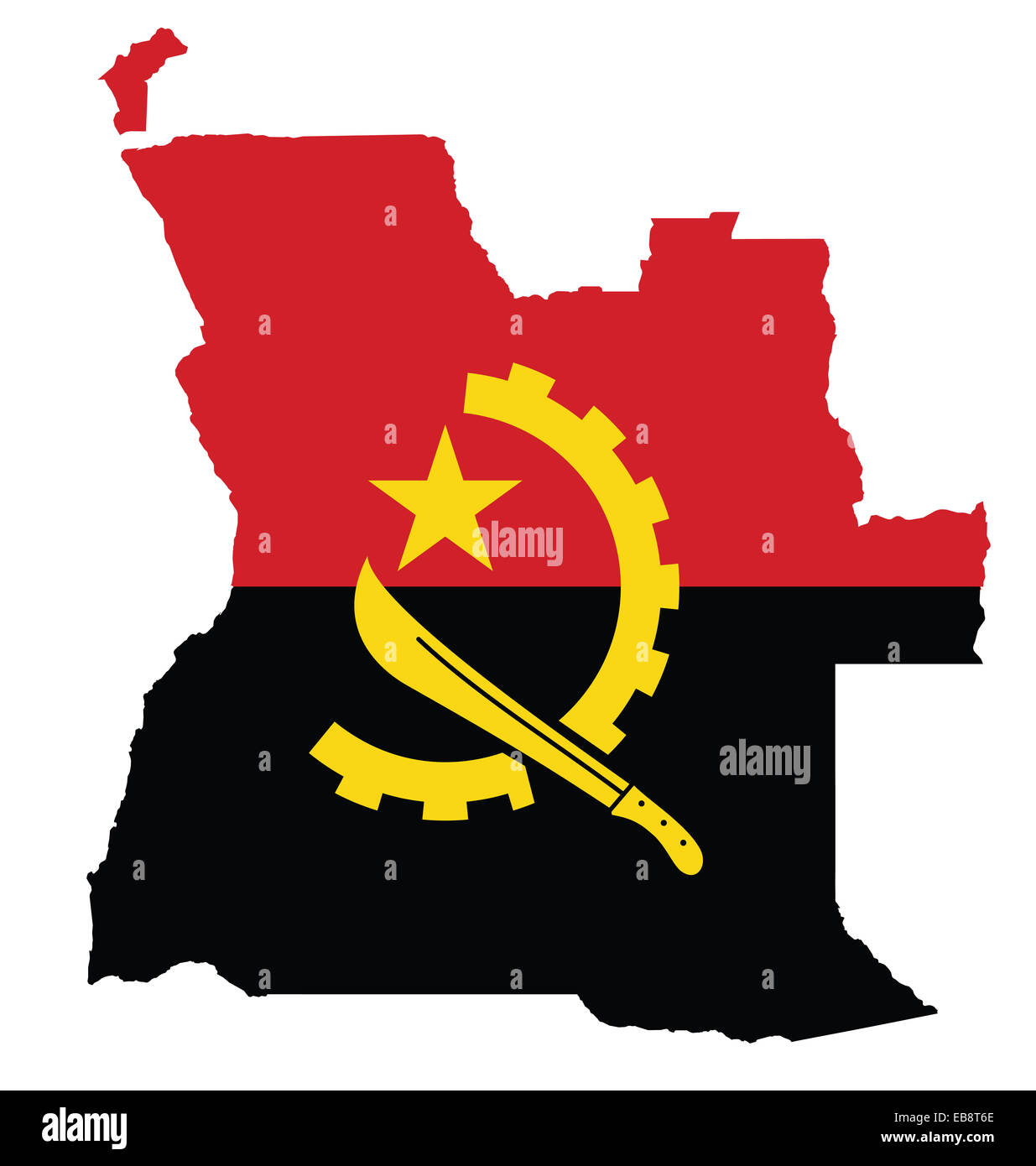 Flag of the Republic of Angola overlaid on outline map - Stock Image