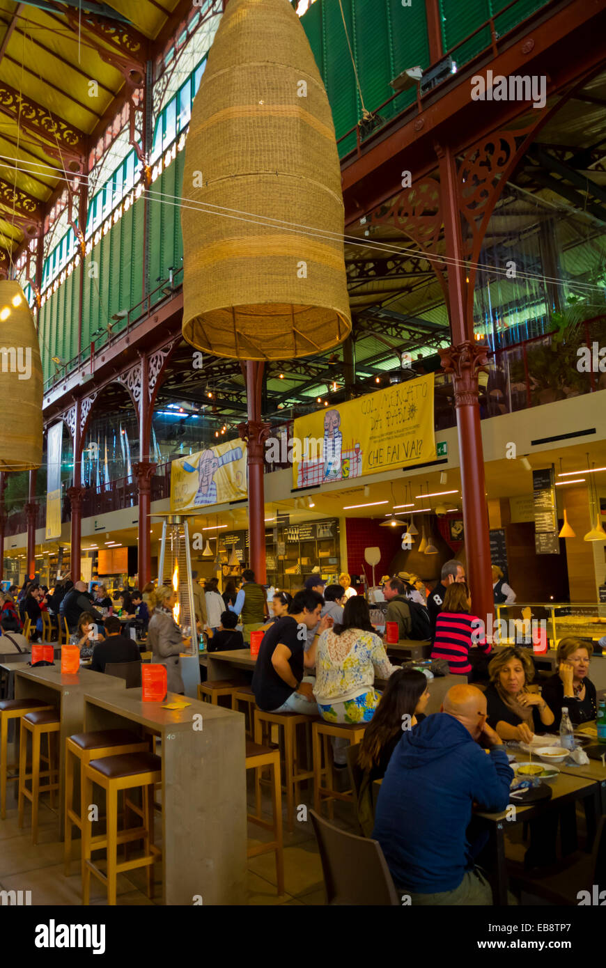 2nd floor food court, Mercato centrale, central market hall, Florence, Tuscany, Italy - Stock Image