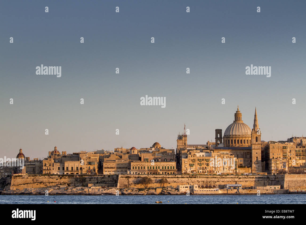 Golden hour in Valletta, Malta. - Stock Image