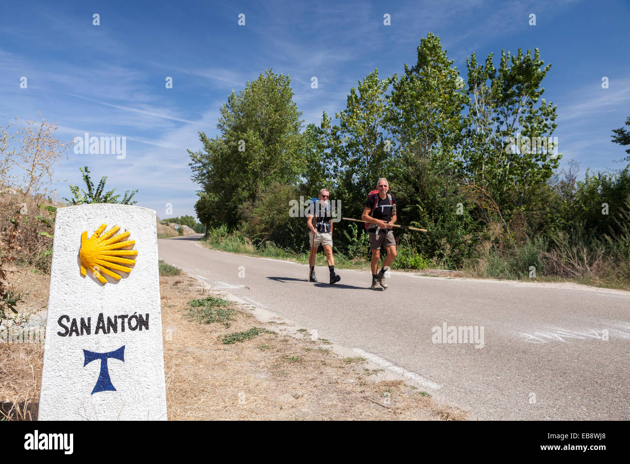 Way of St. James near the ruins of the Monastery of San Anton,  Castrojeriz, Burgos, Spain - Stock Image