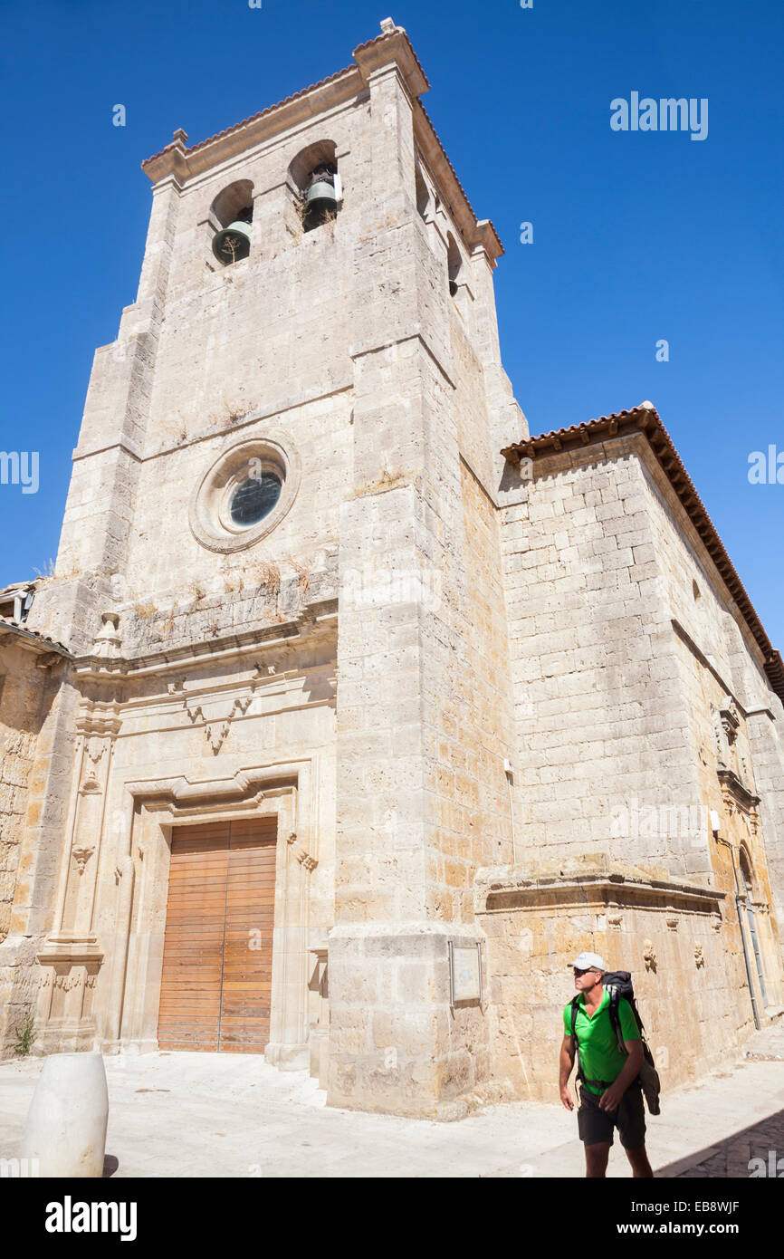 Santo Domingo church in Castrojeriz, Way of St. James, Burgos, Spain - Stock Image