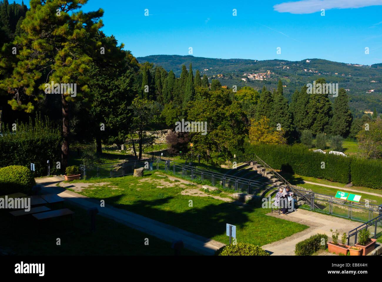 Area Archeologica, Fiesole, near Florence, Tuscany, Italy - Stock Image