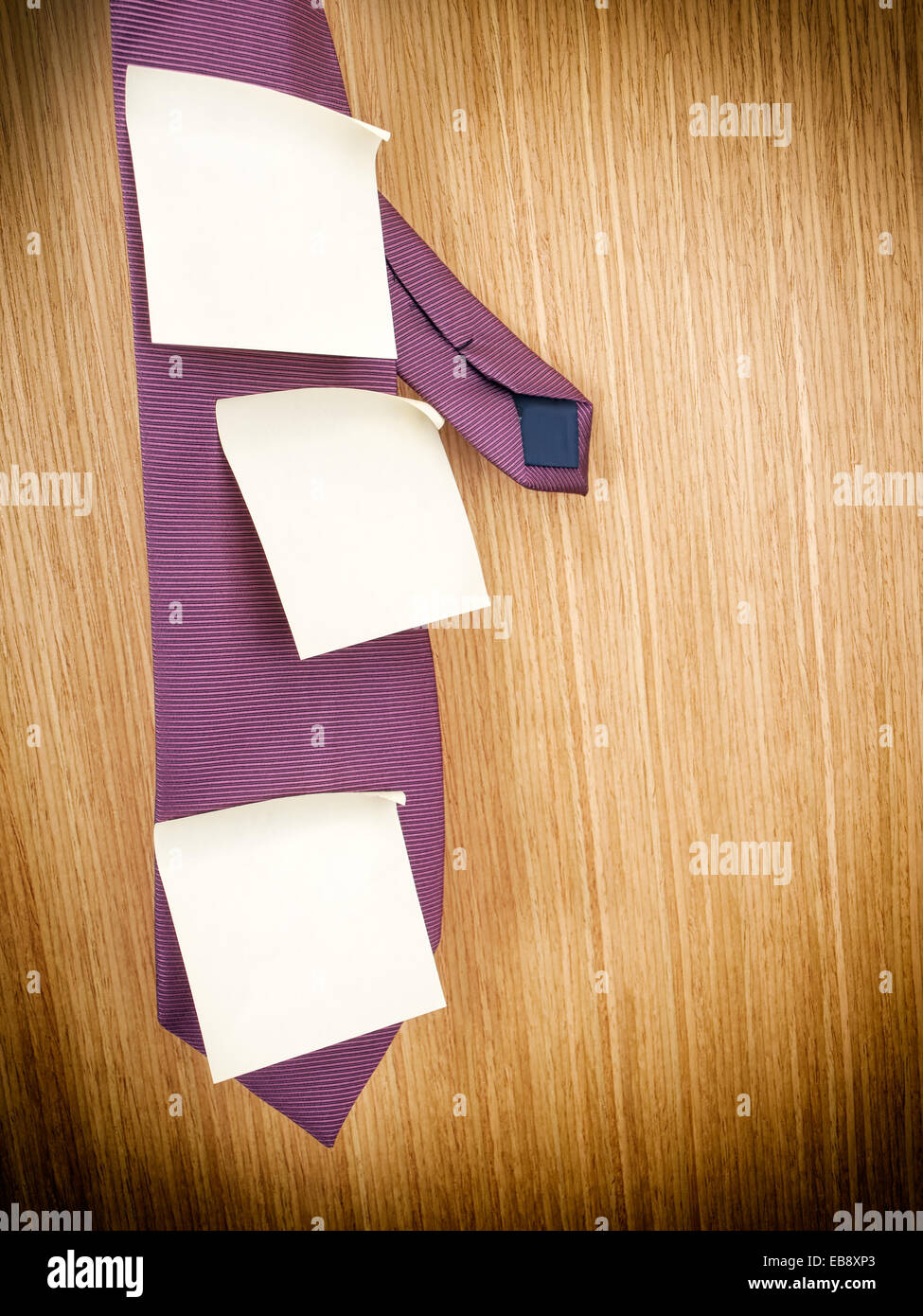 Conceptual image about planning in business world presented with a tie and few sticky notes. - Stock Image