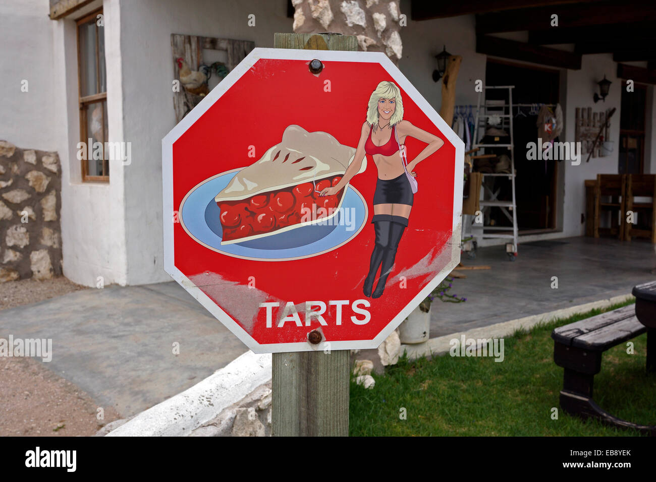 Funny sign at stall in Paternoster, West Coast, Western Cape Province, South Africa. - Stock Image