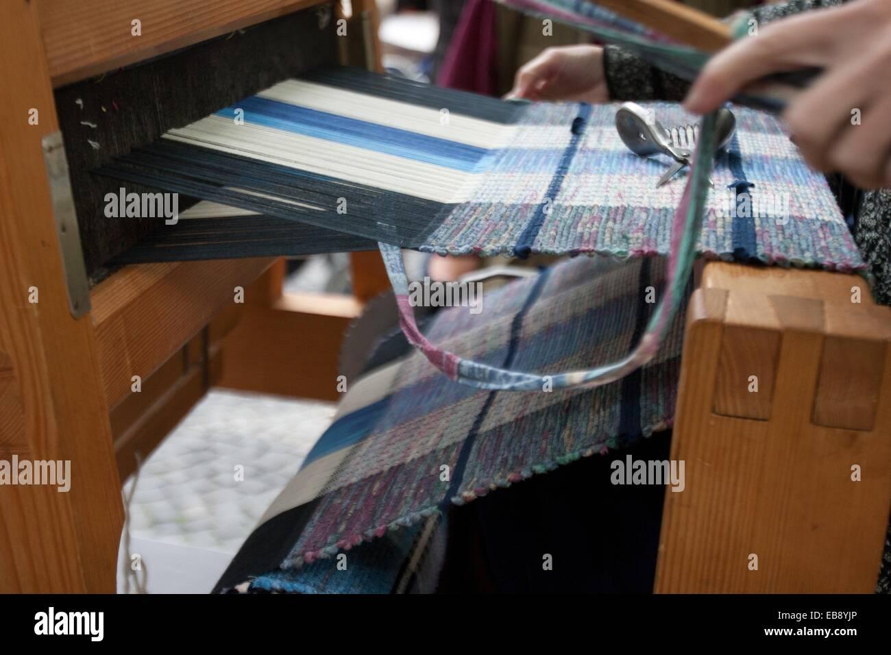 Woman weaving, Loom, Bratislava, Slovakia - Stock Image