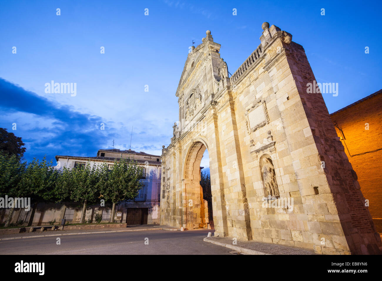 San Benito Arch in Sahagun, Way of St. James, Leon, Spain - Stock Image