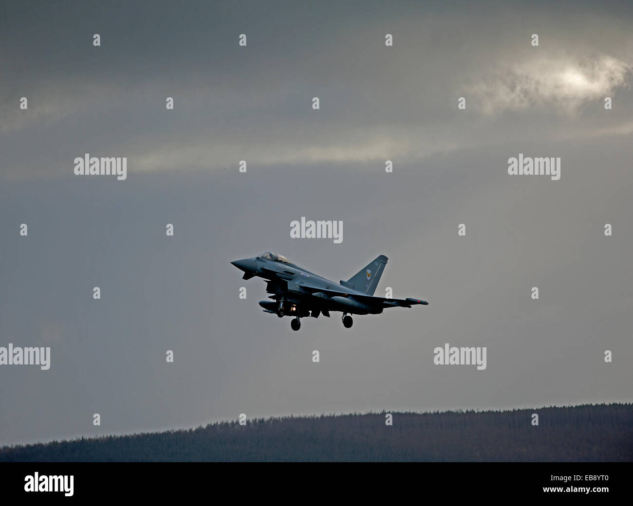Eurofighter Typhoon FRG4 Military Fast Jet Fighter returning to base at RAF Lossiemouth.  SCO 9236 - Stock Image
