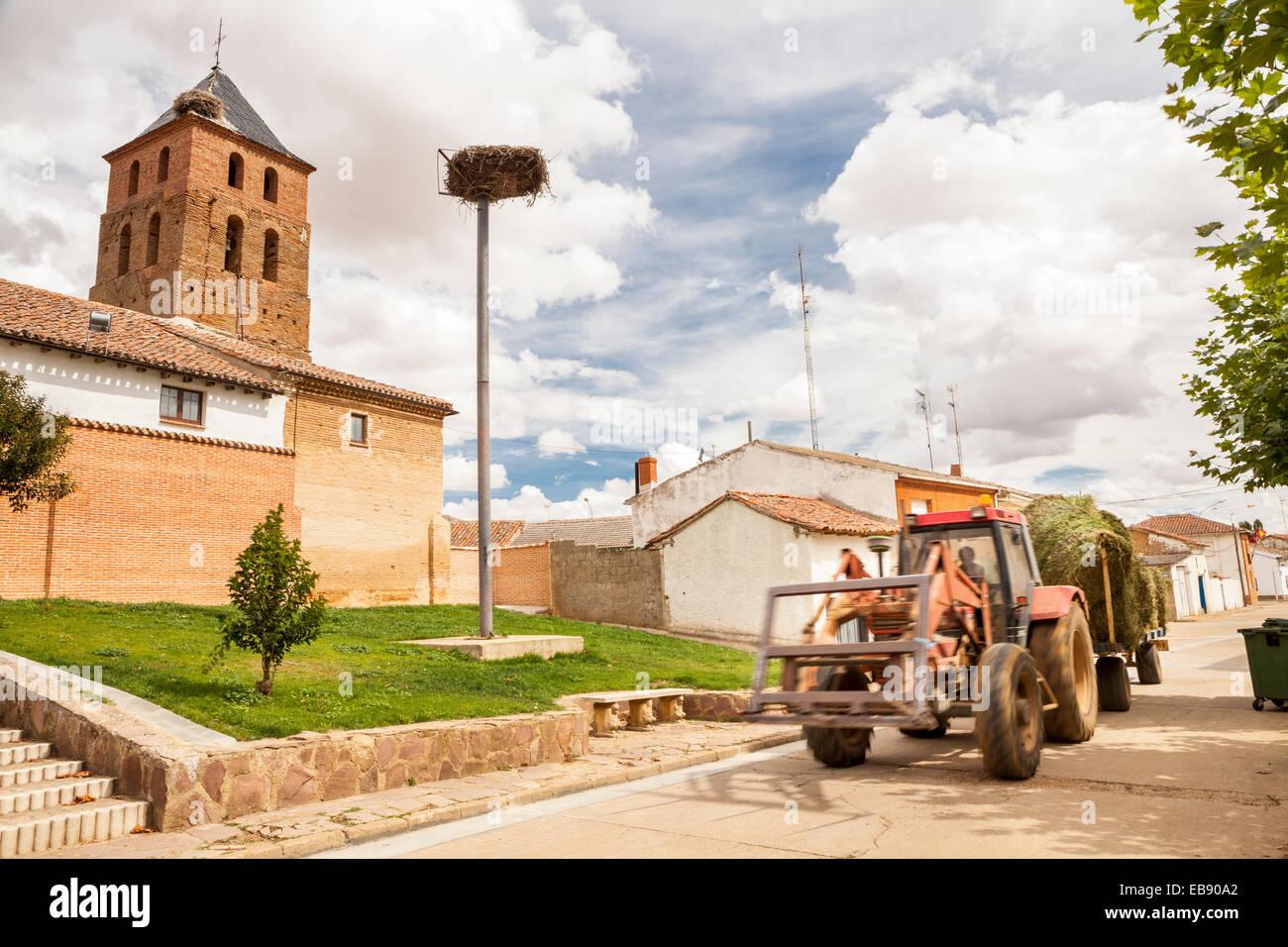 San Esteban Church in Calzada del Coto, Way of St. James, Leon, Spain - Stock Image