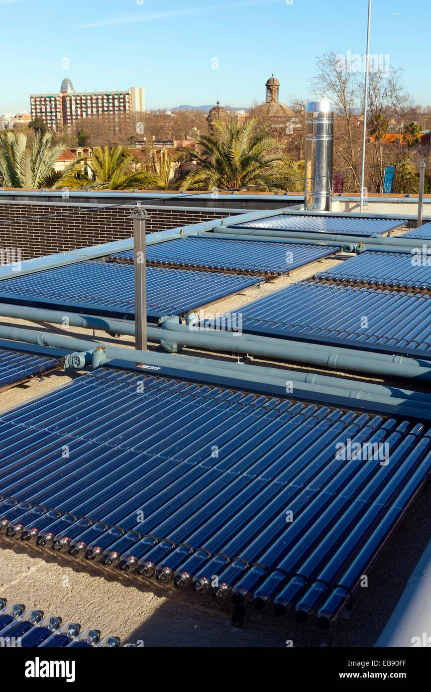 Photovoltaic panels. Barcelona, Spain. - Stock Image