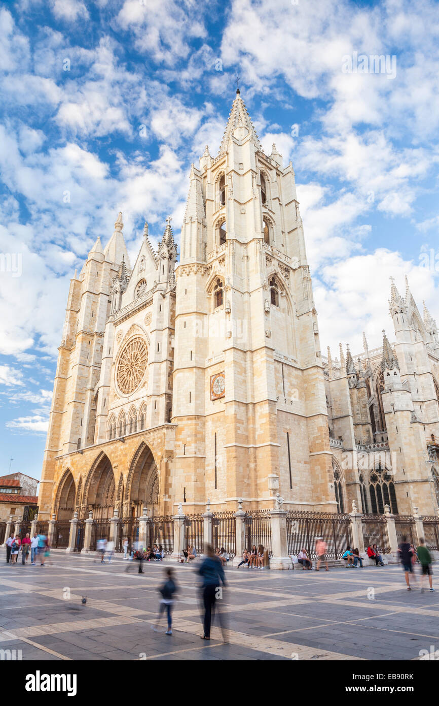 Cathedral of Leon, Way of St. James, Leon, Spain - Stock Image