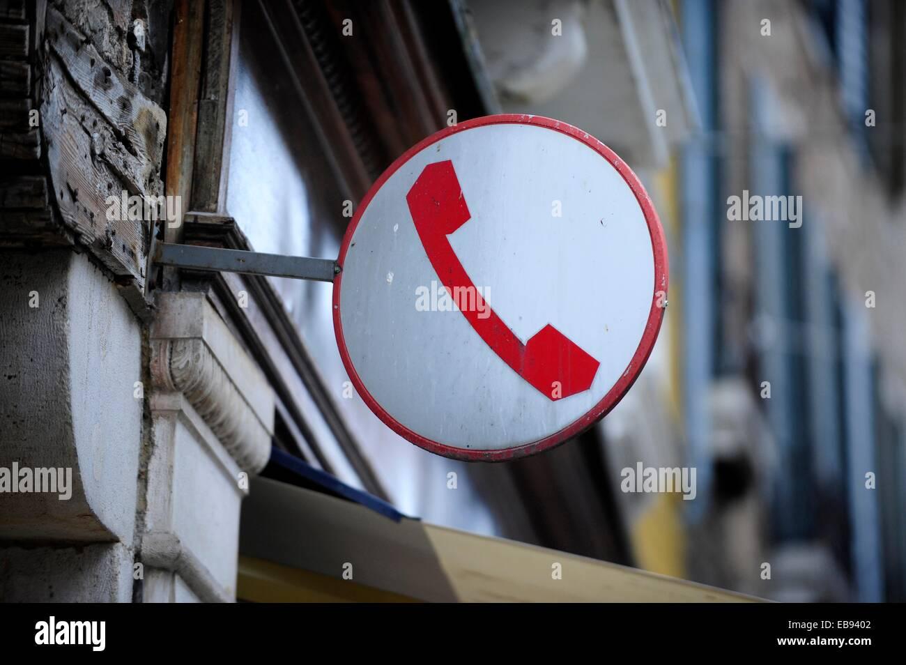 Public phone sign in Venice,Italy,Europe Stock Photo