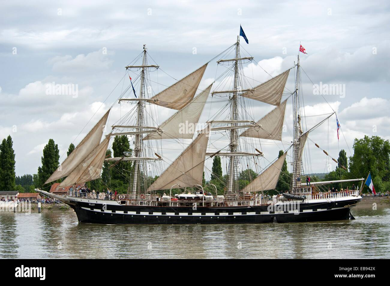 Armada 2013 - cruise of biggest sailing vessels in the world on Seine river from Rouen to Atlantic Ocean 'Belem' - Stock Image