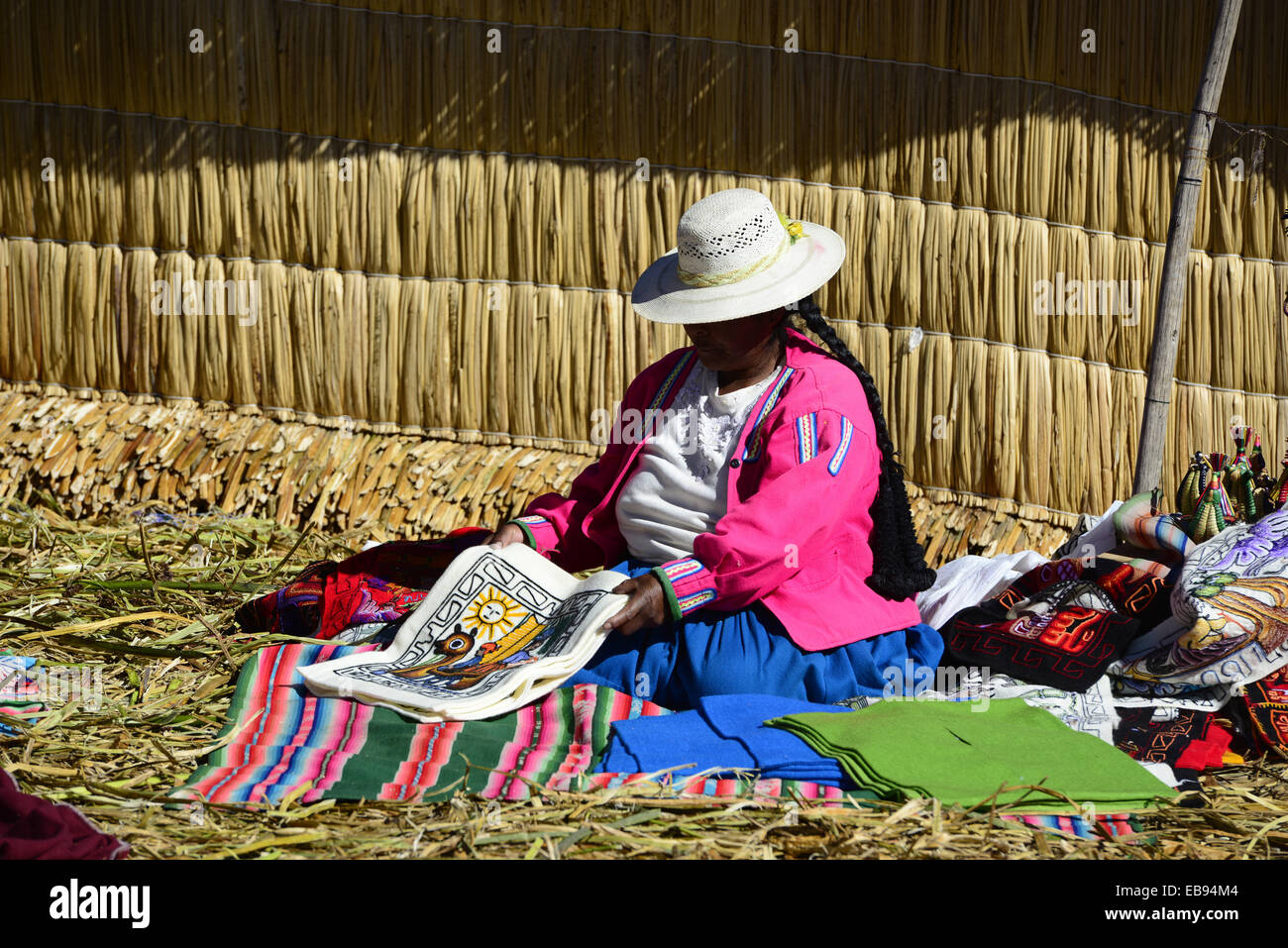 Uros artificial floating islands in Titicaca Lake,Puno,Peru,South America. - Stock Image