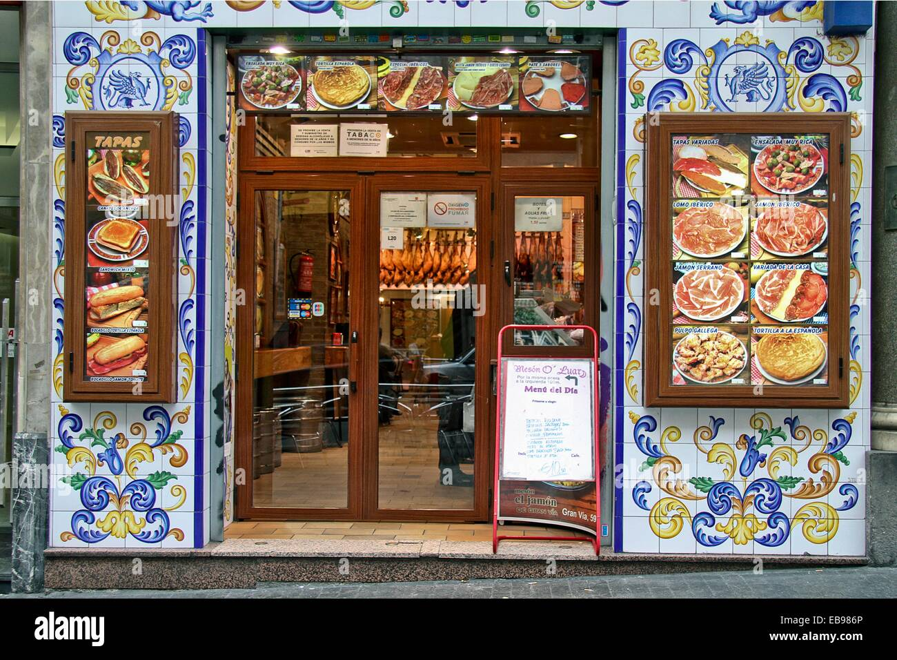 Traditional Tile Work Or Azulejos On The Facade On A Tapas