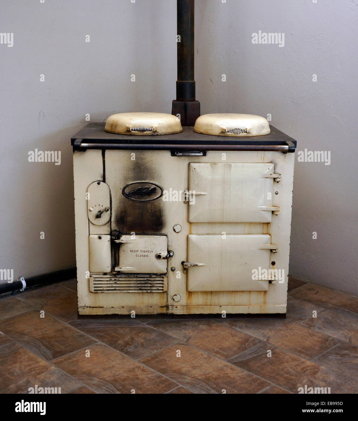 Old  Aga stove in restaurant in Riebeek Kasteel . Western Cape Province, South Africa. - Stock Image