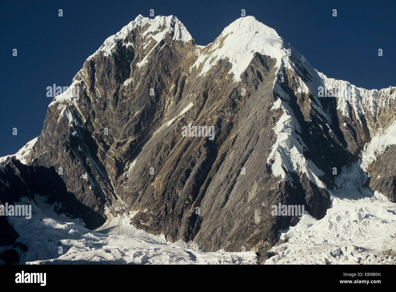 North and Main Summit of Mount Jirishanca 6094 meters, in the range of Huayhuash, the Andes. Peru. - Stock Image
