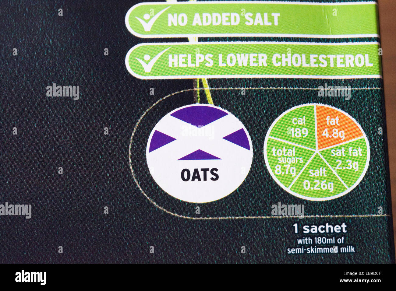 Nutritional information on a packet of Porridge Oats. - Stock Image