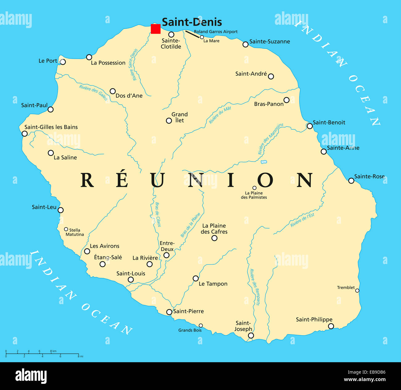 Reunion Political Map With Prefecture Saint Denis Important