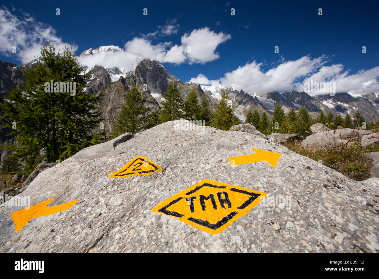 Looking towards Mont Blanc from above Val Veny, Italy, with a rock marked with the Tour du Mont Blanc long distance - Stock Image