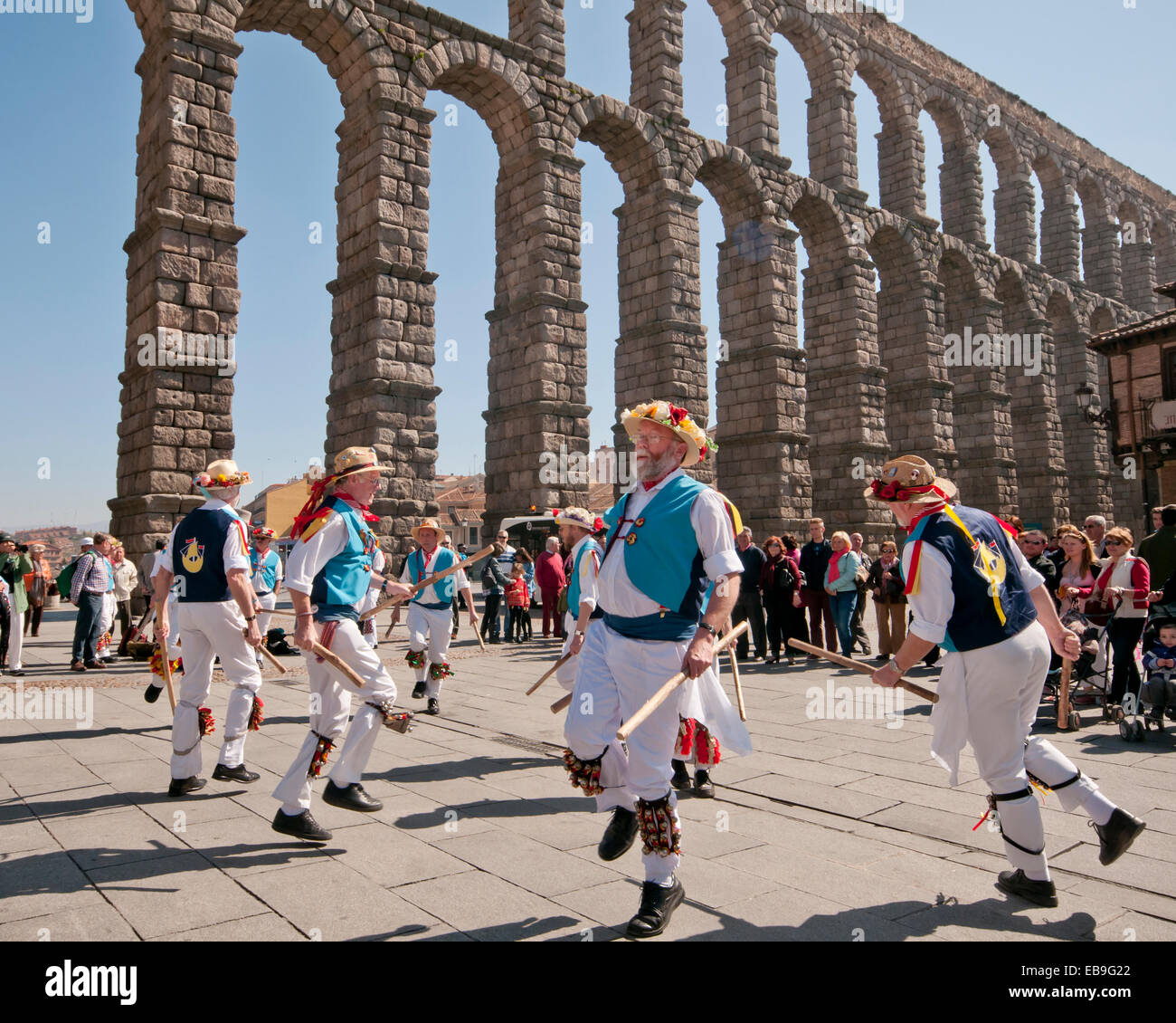 SEGOVIA  SPAIN - MARCH 16 2014 - East Suffolk Morris Men dancing in the ancient Roman city of Segovia, Spain with - Stock Image