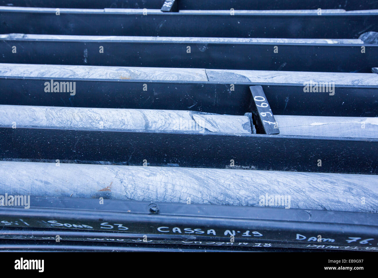 Rock core samples from a drill site near Courmayeur, Italy, - Stock Image