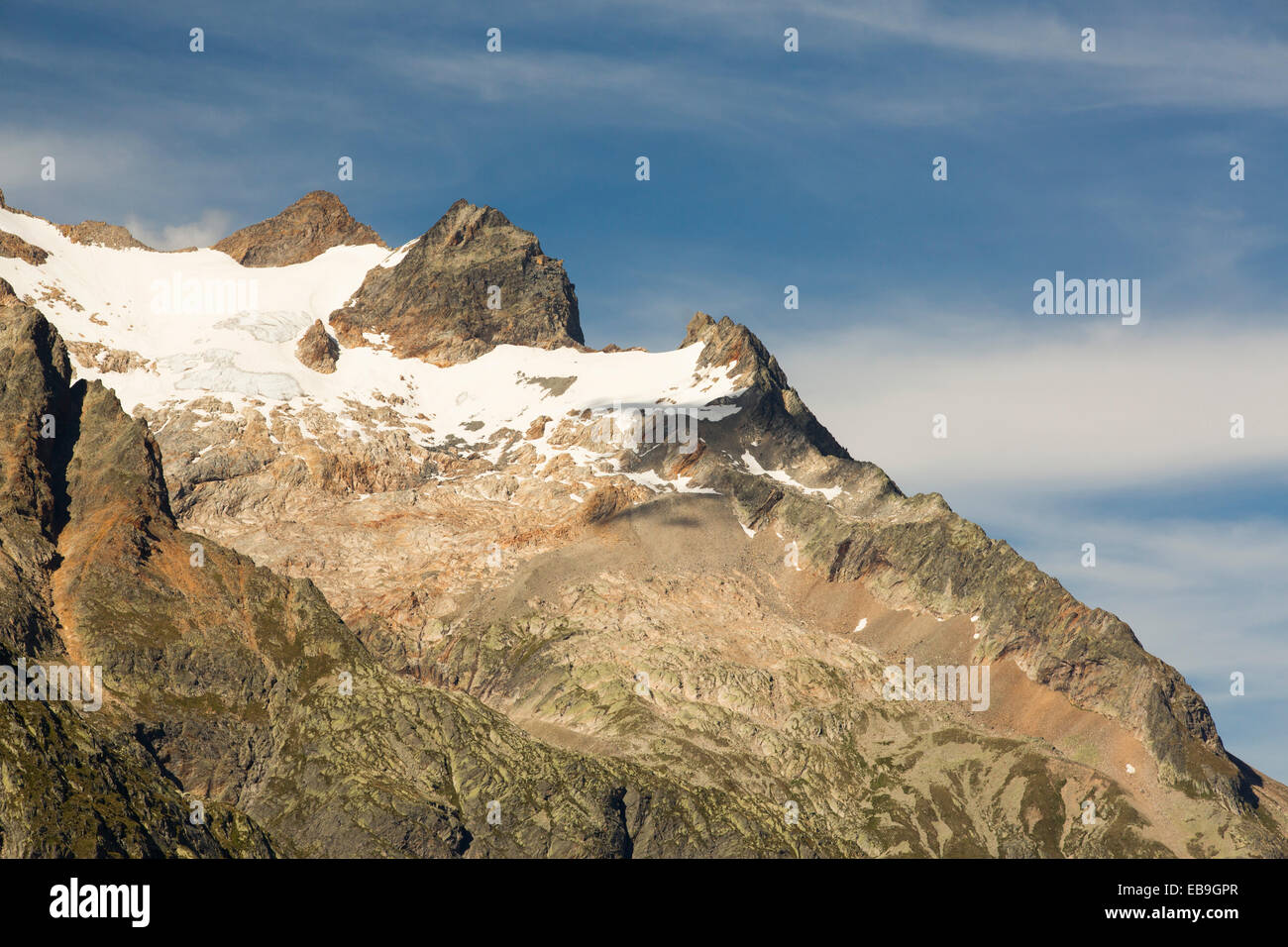 Looking across to the Aiguille de Triolet in the Mont Blanc range, Italy. - Stock Image