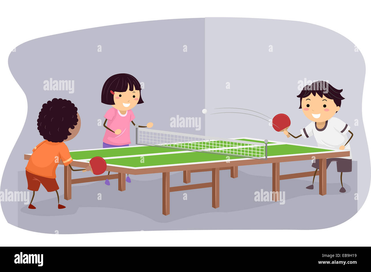 Illustration Featuring Kids Playing Table Tennis - Stock Image