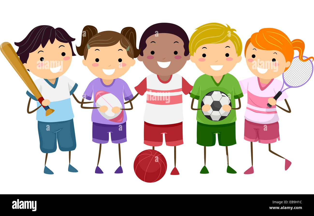 Illustration Featuring Kids Holding Different Sports Gear - Stock Image