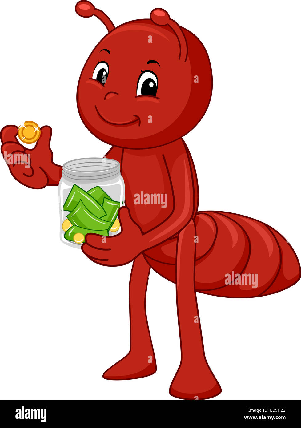 Illustration Featuring an Ant Storing Money in a Glass Jar - Stock Image