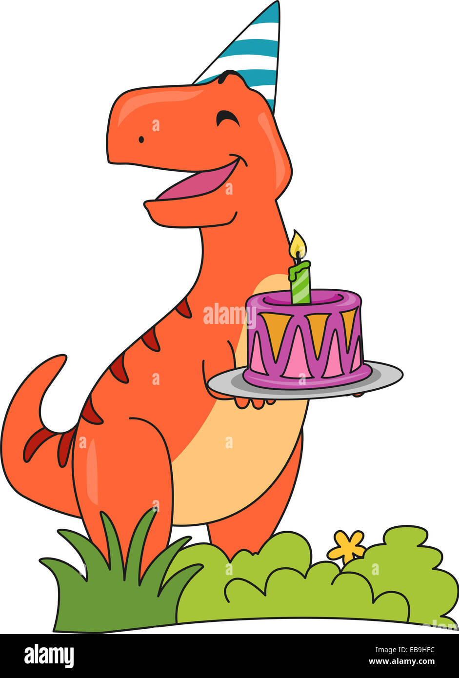 Remarkable Illustration Featuring A Happy T Rex Holding A Birthday Cake Stock Personalised Birthday Cards Paralily Jamesorg