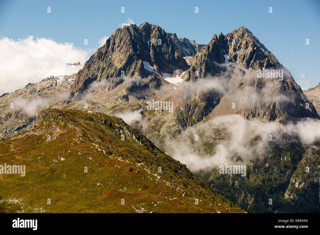 The Aiguille Rouge range from the Col du Balme, French Alps. - Stock Image