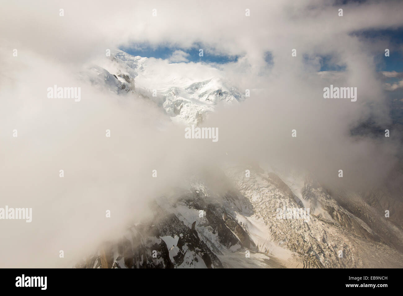 Mont Blanc from the Aiguille Du Midi above Chamonix, France. Stock Photo