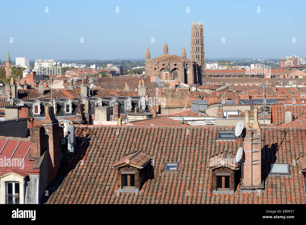 Cityscape or Panoramic View over the Rooftops & Church of the Jacobins or Jacobins Church or Monastery Toulouse - Stock Image