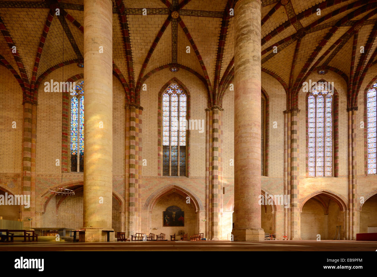 Nave Interior U0026 Columns Of The Gothic U0026 Romanesque Jacobins Church Or  Monastery Toulouse Haute Garonne France