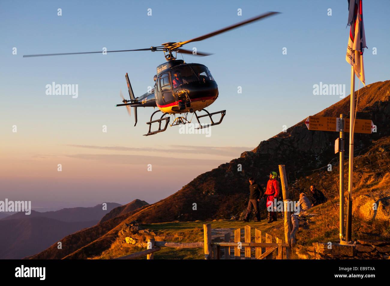 A Helicopter at Rifugio Al Legn, near Brissago, Kanton Tessin, Switzerland Stock Photo