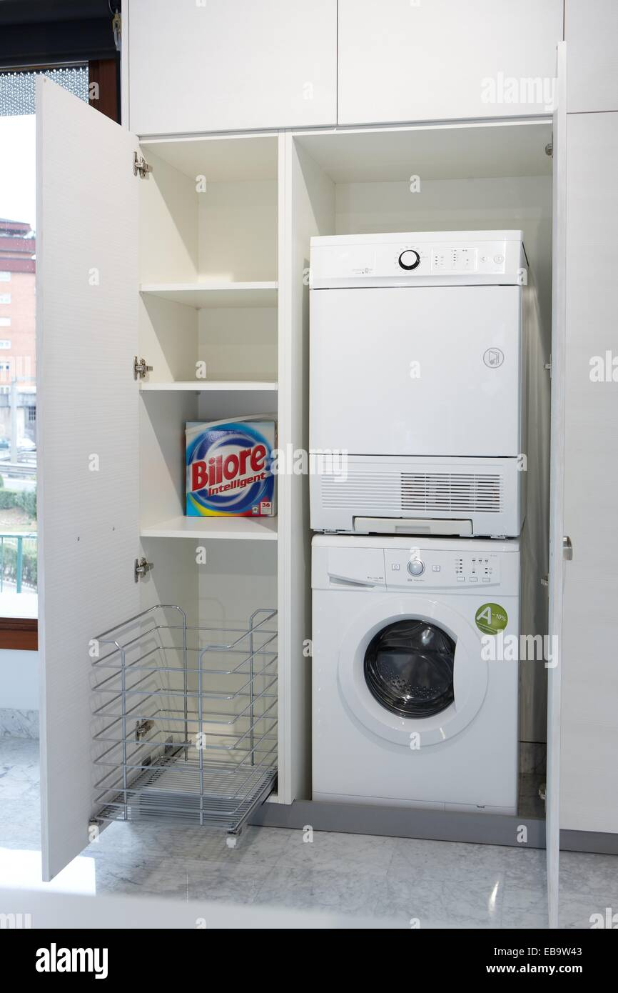Cabinets laundry area kitchen furniture exhibition and sale Stock Photo
