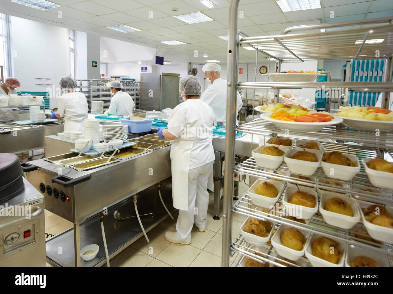 Food serving line hospital meal preparation kitchen hospital donostia san sebastian gipuzkoa basque country spain