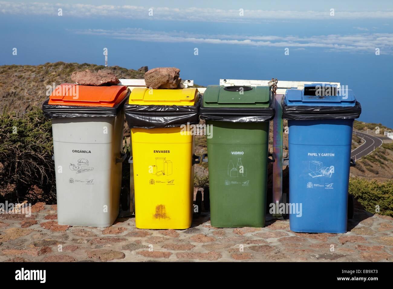 Cubes of separate collection, Roque de los Muchachos, Caldera de Taburiente National Park, La Palma, Canary Islands, - Stock Image