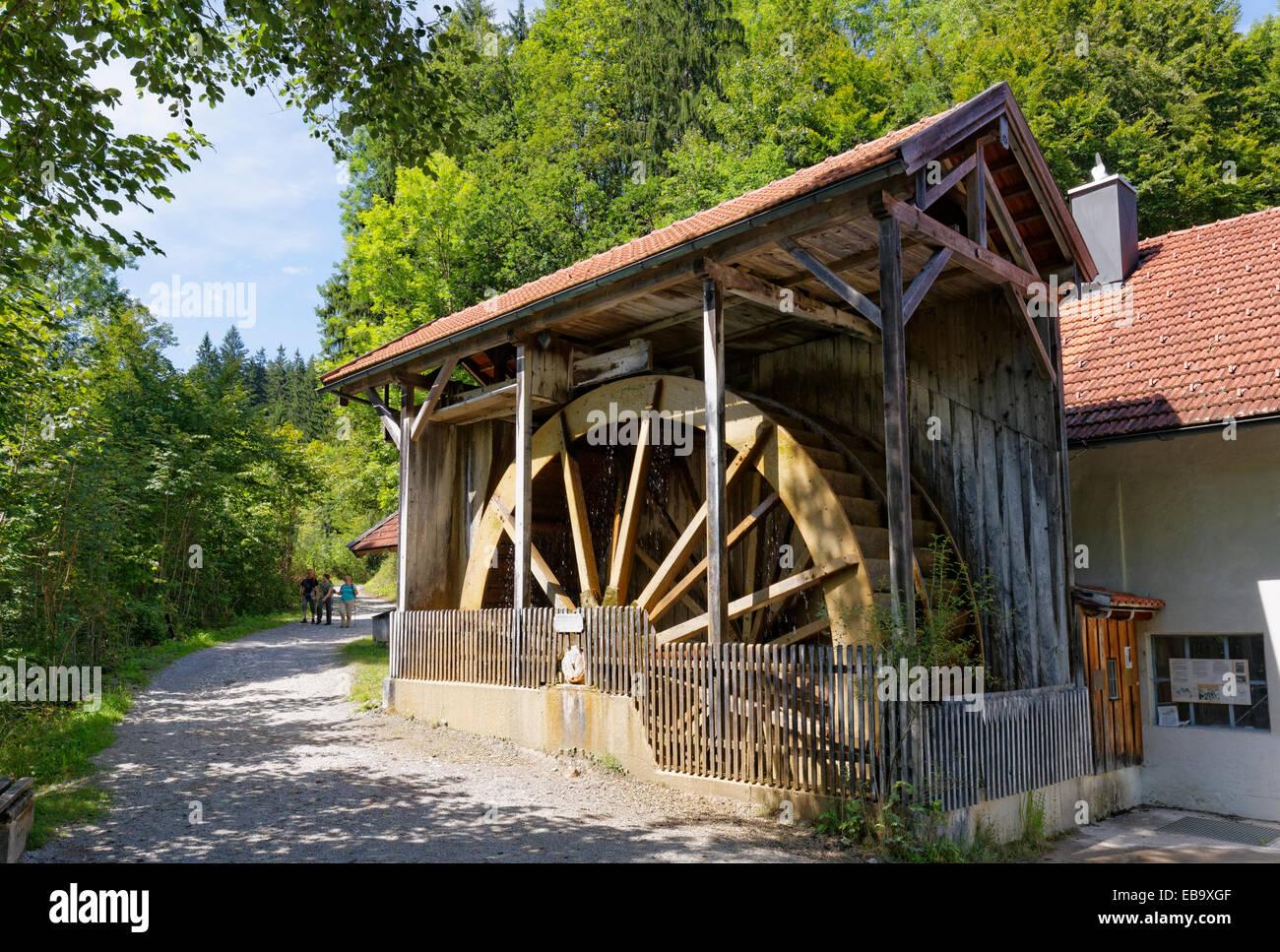Water wheel at Bleier Sag on Gießenbach stream, Kiefersfelden, Mangfall Mountains, Upper Bavaria, Bavaria, - Stock Image