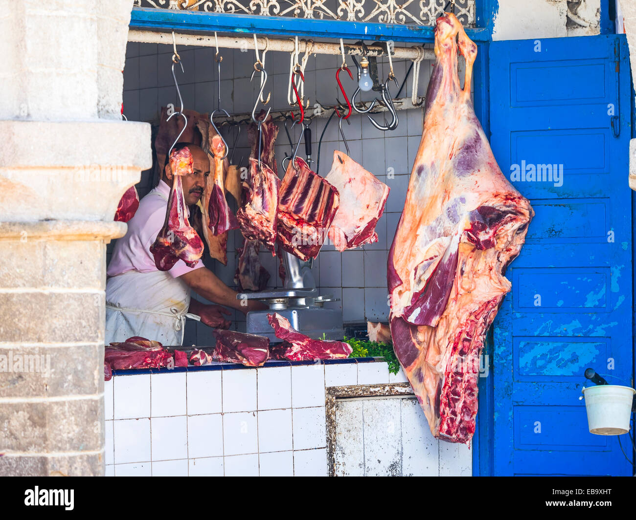Meat seller in the Souk, Essaouira, Morocco - Stock Image