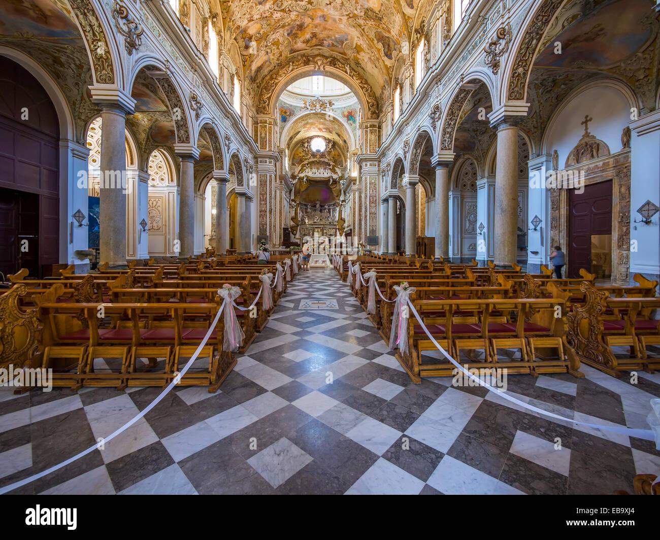 Interior of the Cathedral del Santissimo Salvatore or San Vito Church, Mazara del Vallo, Province of Trapani, Sicily, - Stock Image