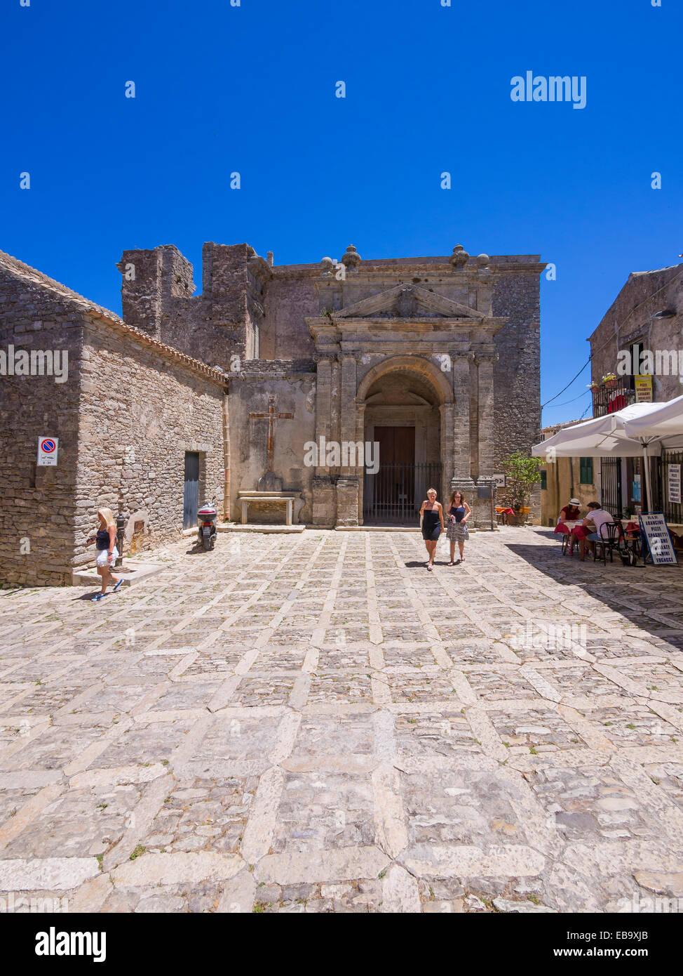The Church of S. Cataldo, historic centre, Erice, Province of Trapani, Sicily, Italy - Stock Image