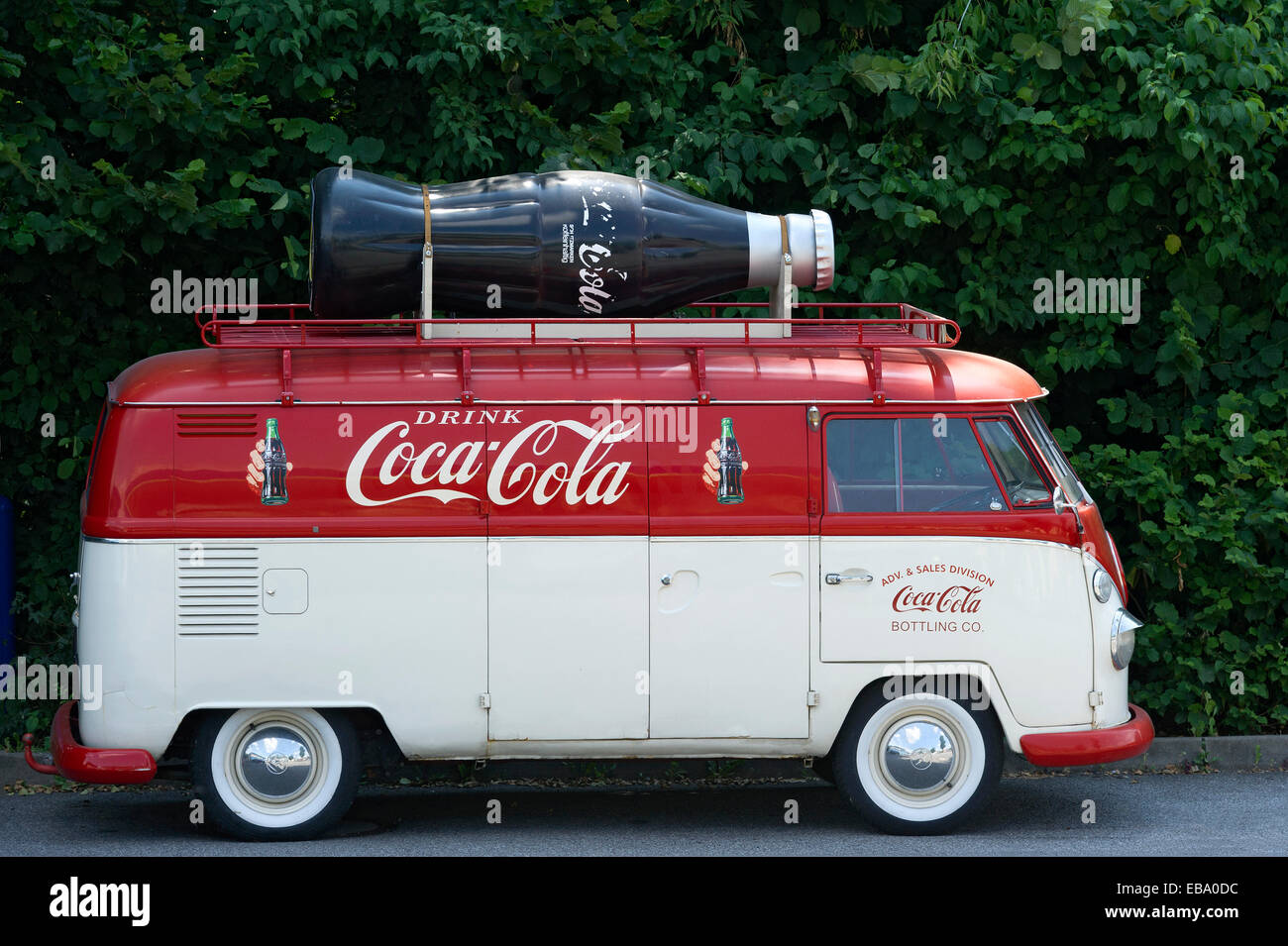 Volkswagen Type 2, VW Bus T1, Bulli, built in 1950, with advertisements for Coca-Cola, Landshut, Lower Bavaria, - Stock Image