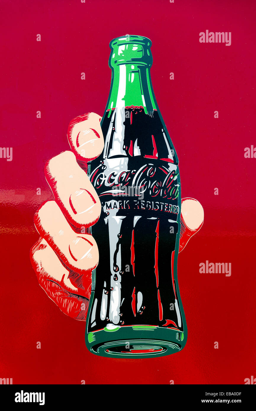 Historic advertising image for Coca-Cola, Landshut, Lower Bavaria, Bavaria, Germany - Stock Image