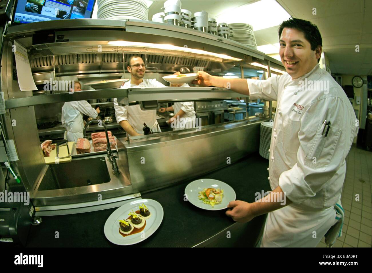 USA, New York, Chef Damian Sansonetti, in his kitchen at ´Bar Boulud´ - Stock Image
