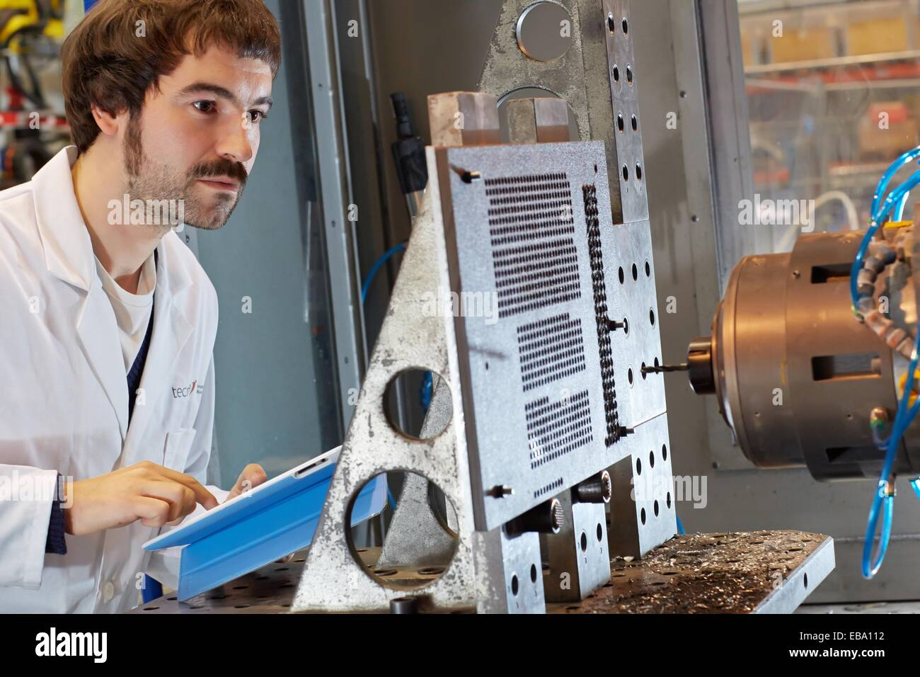 adult aeronautic Air transport aircraft analysis Basque Country center color image component computer control digital - Stock Image